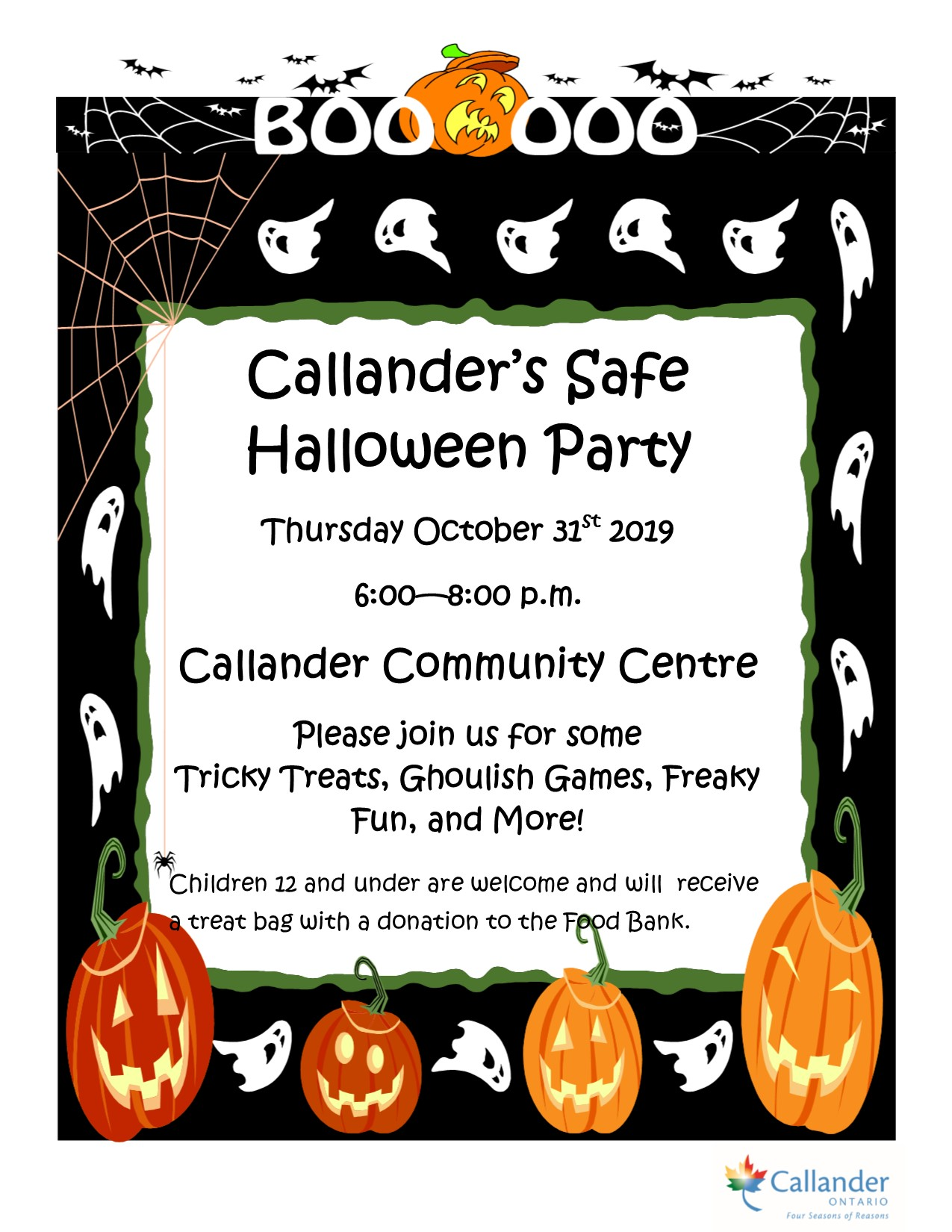 Invitation to Callander's Safe Halloween Party