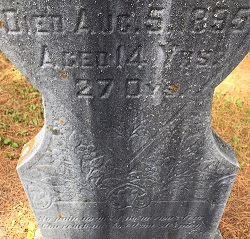 close up of old headstone with death date of 1895
