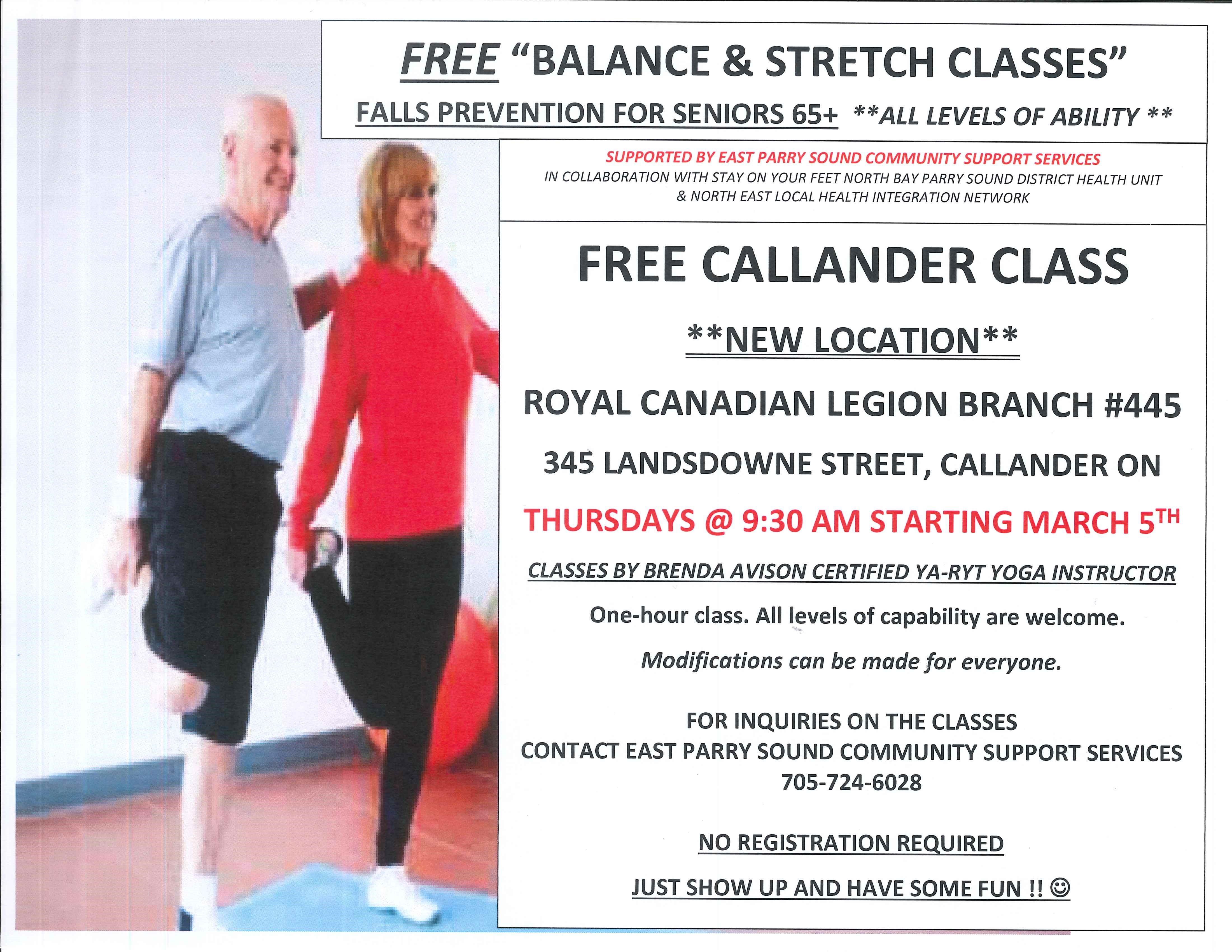 Free balance and stretch classes in Callander